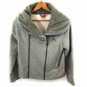 Puma Ladies Gray Full ZIP Cowl Neck Sweater, XL